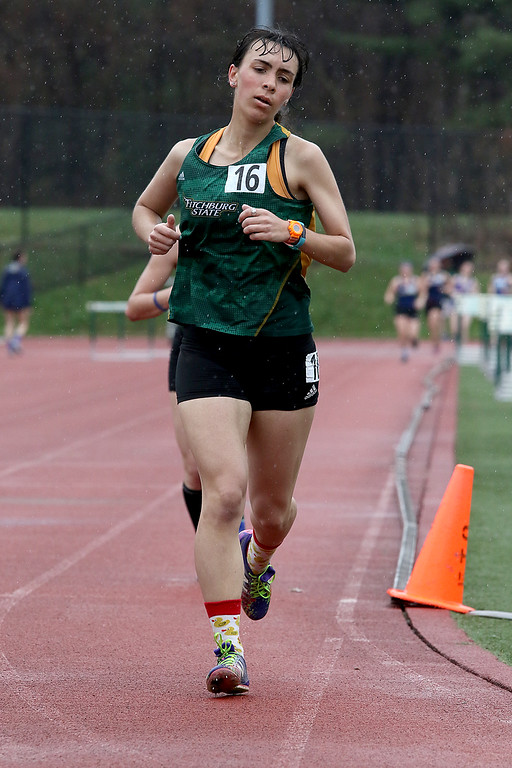 . Eric Loeschner Memorial Invitational Saturday, April 20, 2019 at Fitchburg State University\'s Elliot Field Athletic Complex. FSU\'s Jenny Desilvestre competes in the 1500 during the meet. SENTINEL & ENTERPRISE/JOHN LOVE