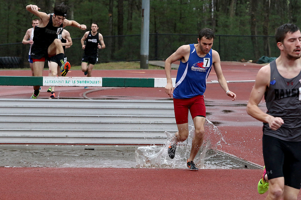 . Eric Loeschner Memorial Invitational Saturday, April 20, 2019 at Fitchburg State University\'s Elliot Field Athletic Complex. UMass Lowell\'s Nick Adams competes in the steeple chase during the meet. SENTINEL & ENTERPRISE/JOHN LOVE