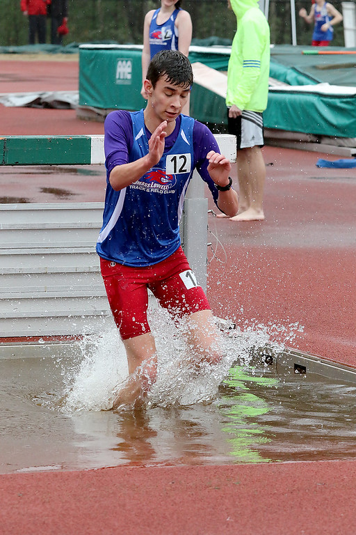 . Eric Loeschner Memorial Invitational Saturday, April 20, 2019 at Fitchburg State University\'s Elliot Field Athletic Complex. UMASS Lowell\'s Pat Bingel competes in the steeple chase during the meet. SENTINEL & ENTERPRISE/JOHN LOVE