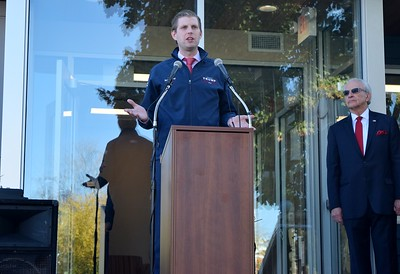Eric Trump (left), son of Republican presidential candidate Donald Trump, speaks at the Grace Centers of Hope William A. Davis Women and Children's Center with Pastor Kent Clark, CEO of Grace Centers of Hope beside him on Friday, Nov. 4, 2016.