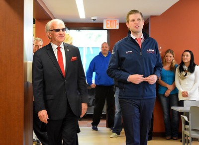 Eric Trump (right), son of Republican presidential candidate Donald Trump, tours the Grace Centers of Hope William A. Davis Women and Children's Center with Pastor Kent Clark, CEO of Grace Centers of Hope, on Friday, Nov. 4, 2016.