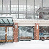 The John Elrod Commons in the snow.