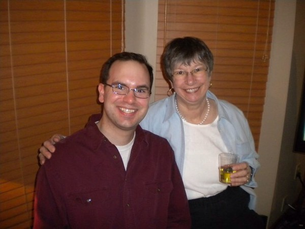 AJ and Aunt Lou at Margie's 50th Birthday Surprise Party at Frank & Amy's - January 18, 2011