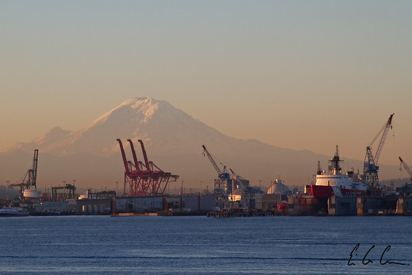Mt. Rainier from Elliot Bay.