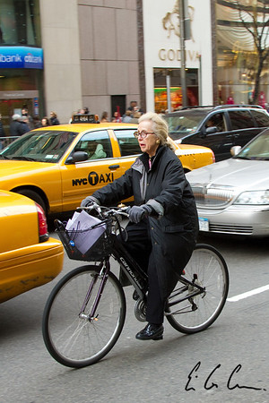 Woman on bicycle in New York City