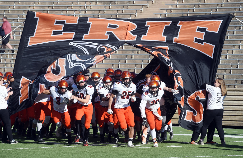 . The Erie Tigers enter the field. The Erie High School Tigers lost to Palmer Ridge at the 3A State Championship game.  Cliff Grassmick / Staff Photographer/ December 2, 2017, 2017