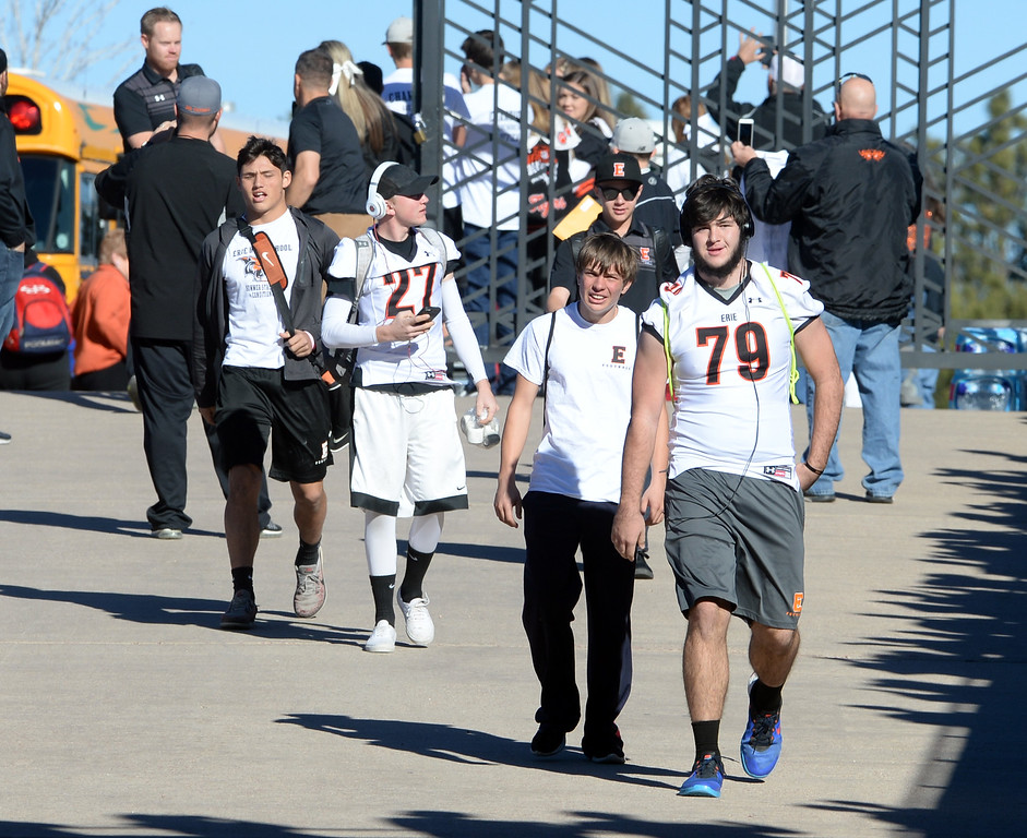 . The Erie High School Tigers arrive at Falcon Stadium for the 3A State Championship game against Palmer Ridge.  Cliff Grassmick / Staff Photographer/ December 2, 2017, 2017