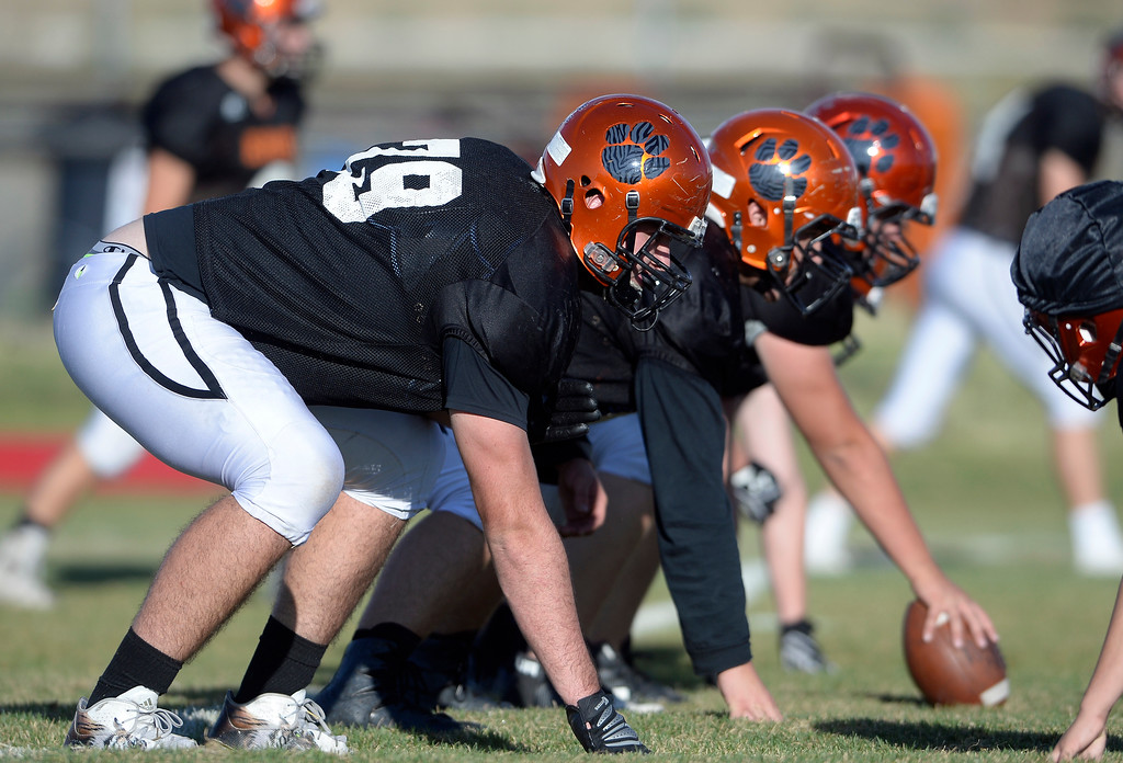 . Erie High School offensive lineman Cameron Marcucci lines up to the line of scrimmage during football practice on Wednesday at Erie High School. Jeremy Papasso/ Staff Photographer/ Sept. 13, 2017