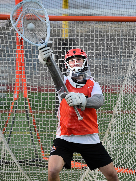 . ERIE CO: February 28, 2019:  Goal keeper, Timmy Beach, during Erie lacrosse practice on Thursday. Erie High School is one of the new programs in lacrosse this upcoming spring. (Photo by Cliff Grassmick/Staff Photographer)