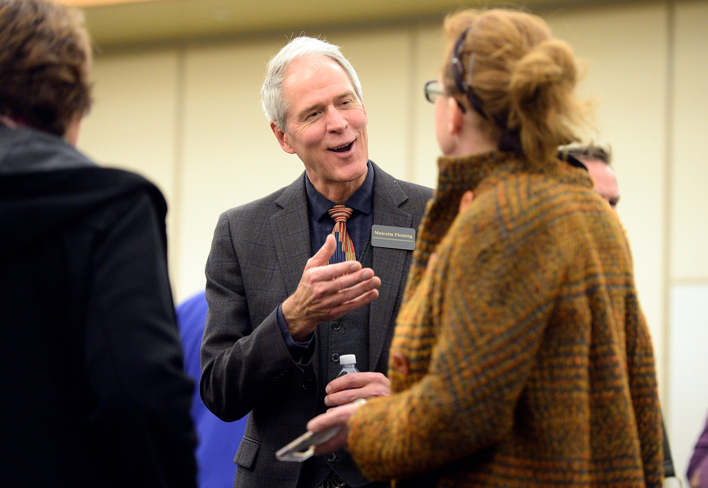 . ERIE, CO - DECEMBER 6, 2018: Candidate Malcolm Fleming talks with residents during a Town of Erie Administrator open house on Thursday at the Erie Community Center in Erie. For more photos go to dailycamera.com (Photo by Jeremy Papasso/Staff Photographer)