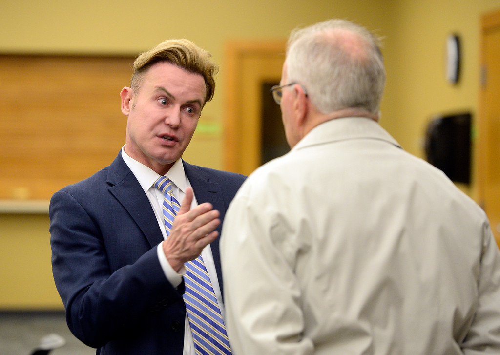 . ERIE, CO - DECEMBER 6, 2018: Candidate Fritz Sprague talks with Ray Schlott, of Erie, during a Town of Erie Administrator open house on Thursday at the Erie Community Center in Erie. For more photos go to dailycamera.com (Photo by Jeremy Papasso/Staff Photographer)