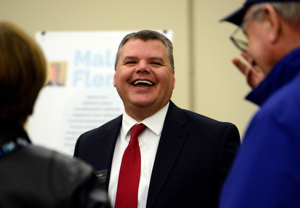 . ERIE, CO - DECEMBER 6, 2018: Candidate Matthew Magley talks with Mike Witt, of Erie, during a Town of Erie Administrator open house on Thursday at the Erie Community Center in Erie. For more photos go to dailycamera.com (Photo by Jeremy Papasso/Staff Photographer)