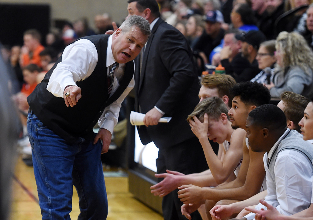 . Silver Creek head coach, Bob Banning, talks to the bench during the Erie game. For more photos, go to BoCoPreps.com.  Cliff Grassmick / Staff Photographer/ February 24, 2018