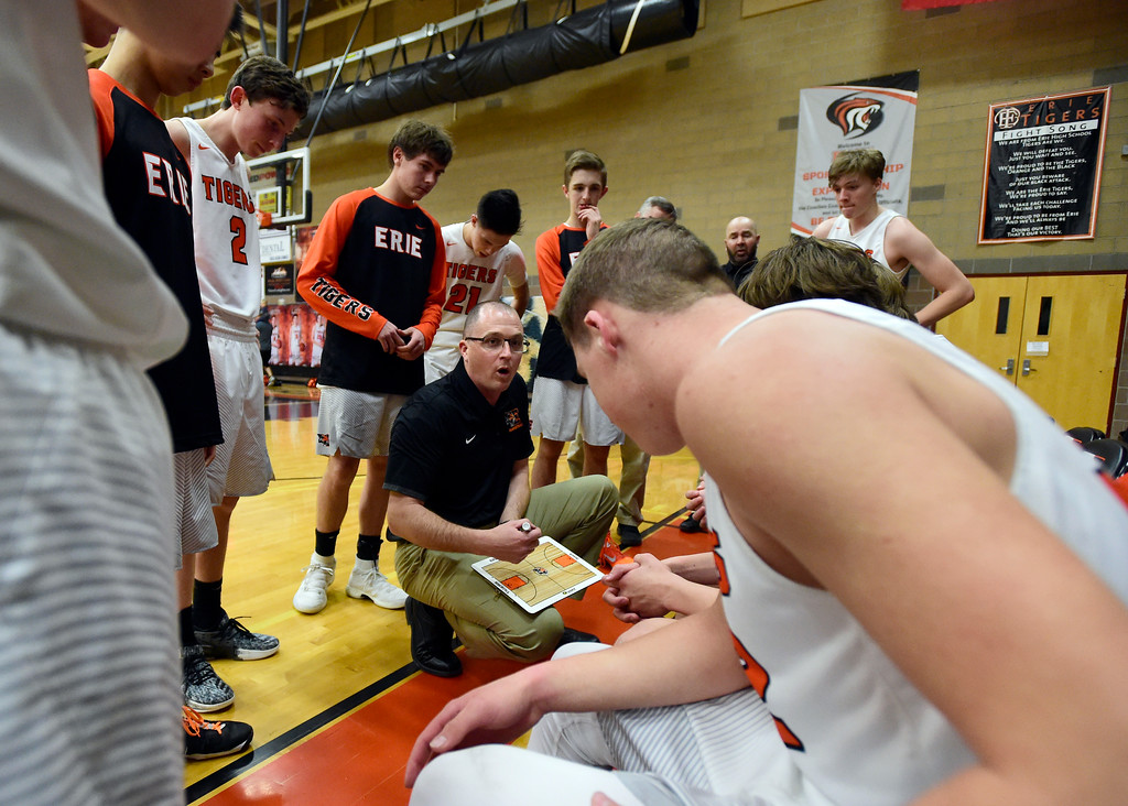 . Erie High School Head Coach Scott Melin talks with his team during a game against Mead on Tuesday in Erie. More photos: BoCoPreps.com Jeremy Papasso/ Staff Photographer 01/30/2018