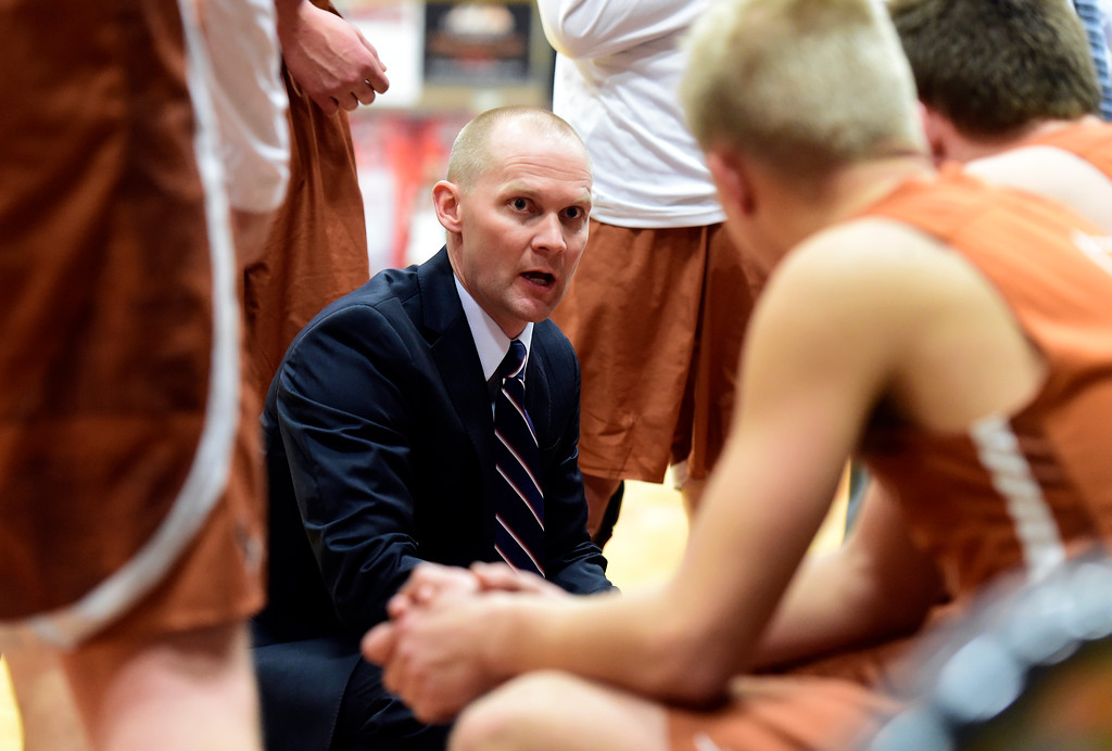 . Mead High School Head Coach Darin Reese talks with his team during a game against Erie on Tuesday in Erie. More photos: BoCoPreps.com Jeremy Papasso/ Staff Photographer 01/30/2018