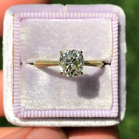 1.32ct Old Mine Cut Diamond, Erika Winters' Laurel Solitaire