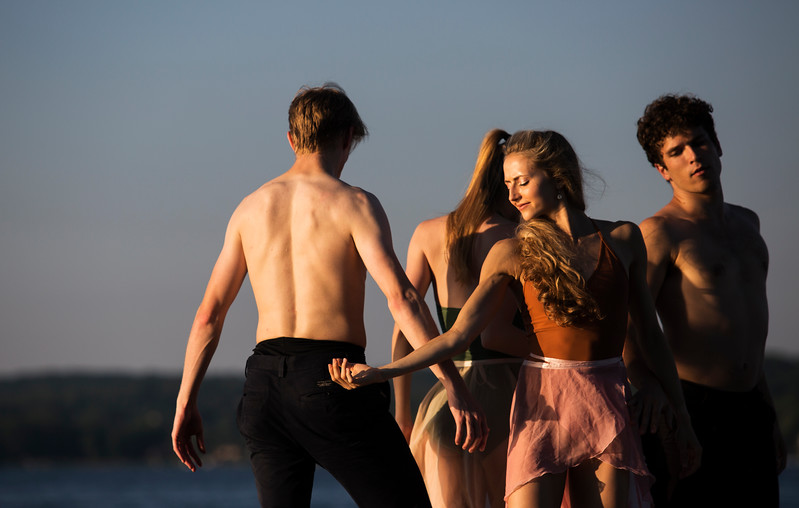 Dancers from the Charlotte Ballet from left, James Kopecky, Lexi Johnston, Sarah Lapointe and Josh Hall perform in a music and dance collaboration with musician Stelth Ng. A video documentary of the collaboration was filmed at the Chautauqua Bell Tower on Saturday, July 15, 2017.  ERIN CLARK / STAFF PHOTOGRAPHER