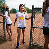 Molly Walsh, member of The Grilled Cheeselers, walks off the field after scoring a run during the Women's Softball Championship at Sharpe Field on Thursday, August 3, 2017. ERIN CLARK / STAFF PHOTOGRAPHER