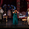 "Opera young artists from left, Arnold Livingstone Geis, playing Ernesto, Kyle Pfort Miller, playing Dr. Malatesta, Laura Soto-Bayomi, playing Norina, and Stefano de Peppo playing Don Pasquale perform ""Don Pasquale"" in Norton Hall on Tuesday, July 25, 2017. ERIN CLARK / STAFF PHOTOGRAPHER"
