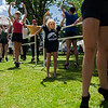 Addison Steere, five, practices movements with The Charolotte Ballet during Sunday's Barre on Bestor Plaza on July 9, 2017. ERIN CLARK / STAFF PHOTOGRAPHER