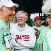 Bud Horne, center, talks to his friend, Bob Laubach, also 92, after the race on Saturday, July 29, 2017. ERIN CLARK / STAFF PHOTOGRAPHER