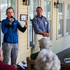 """Betsy Burgeson, Supervisor of Gardens and Landscaping, and John Sheds, director of operations, talk about """"Tree Maintenance and Our Environment"""" during the Institution Leadership Porch Discussion on Hultquist Center porch on Wednesday, July 26, 2017.  ERIN CLARK / STAFF PHOTOGRAPHER"""