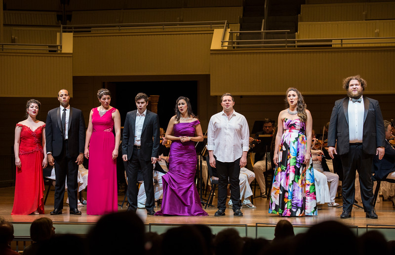 "Chautauqua Opera Apprentices perform W.A. Mozart's Act II Finale ""Die Strahlen der Sonne"" at the Chautauqua Symphony Orchestra Opera Highlights Concert conducted by Steven Osgood in the Amp on Saturday, July 15, 2017. ERIN CLARK / STAFF PHOTOGRAPHER"