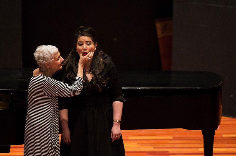 Voice Coach Marlena Malas, left, works with Opera Young Artist Emily Michiko Jensen during the Opera Master Class in Fletcher Music Hall on Friday, July 21, 2017. ERIN CLARK / STAFF PHOTOGRAPHER