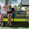 Bud Horne, 92, talks to his friend Carl Pegels, 85, after The Old First Night Run/Walk on Saturday, July 29, 2017.  ERIN CLARK / STAFF PHOTOGRAPHER