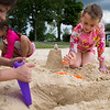 Maddie Hall, 7, right, builds a sand castle at Children's Beach with friends Hana Pratt, 6, left, and Eva Pratt, 5, on the shores of Chautauqua Lake on Monday, June 19, 2017. ERIN CLARK / STAFF PHOTOGRAPHER