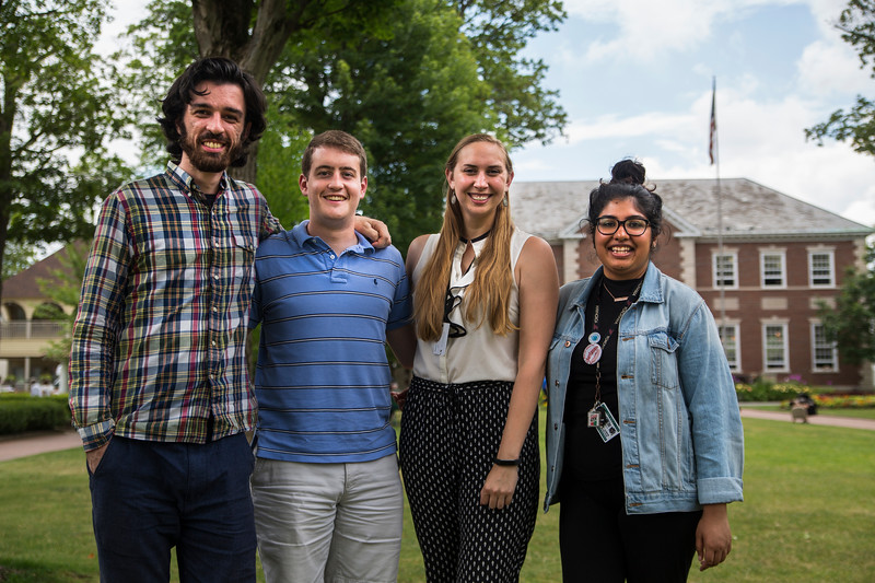 Students of Abrahamic Program for Young Adults from left, Omar Bayramoglu, Will Hall, Zoe Garry, and Nikhat Noorani pose for a portrait on Bestor Plaza on Thursday, July 27, 2017. ERIN CLARK / STAFF PHOTOGRAPHER