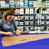 Assistant Costume Shop Manager CeCe Hill cuts out an overlay for Juliet's signature dress in the Costume Shop on Tuesday, August 1, 2017. ERIN CLARK / STAFF PHOTOGRAPHER