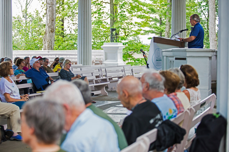 """Wally Rees reads """"The Layers"""" by Stanley Kunitz during the Favorite Poem Project at the Hall of Philosophy on Wednesday, August 2, 2017. ERIN CLARK / STAFF PHOTOGRAPHER"""