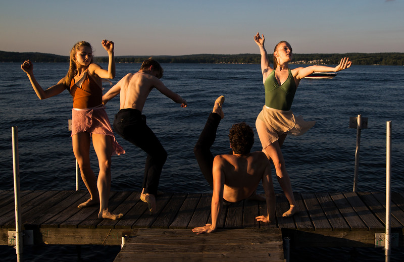 Dancers from the Charlotte Ballet from left, Lexi Johnston, James Kopecky, Josh Hall, and Sarah Lapointe perform in a music and dance collaboration with musician Stelth Ng. A video documentary of the collaboration was filmed at the Chautauqua Bell Tower on Saturday, July 15, 2017.  ERIN CLARK / STAFF PHOTOGRAPHER