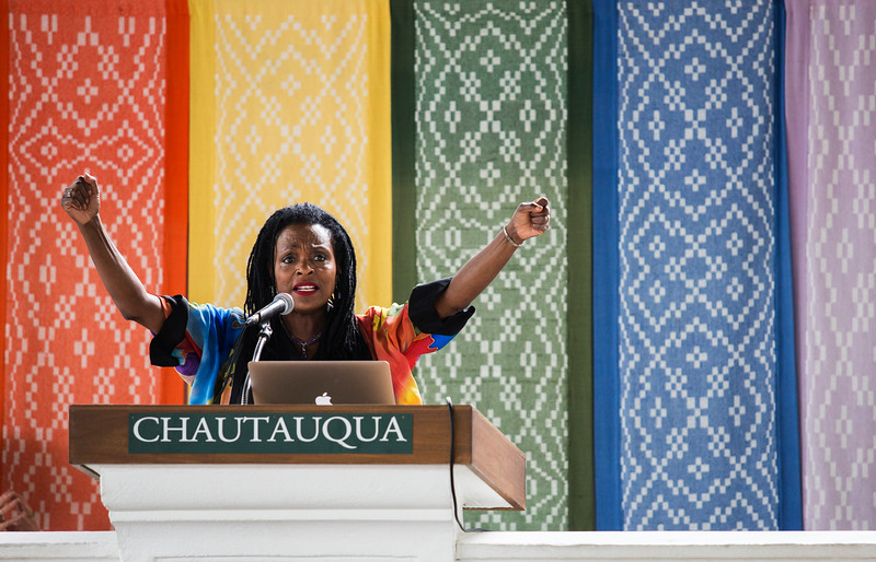 """The Rev. Jacqui Lewis presents on """"Speaking Truth to Power When the World's on Fire"""" during the Afternoon Lecture on Thursday, July 27, 2017. ERIN CLARK / STAFF PHOTOGRAPHER"""