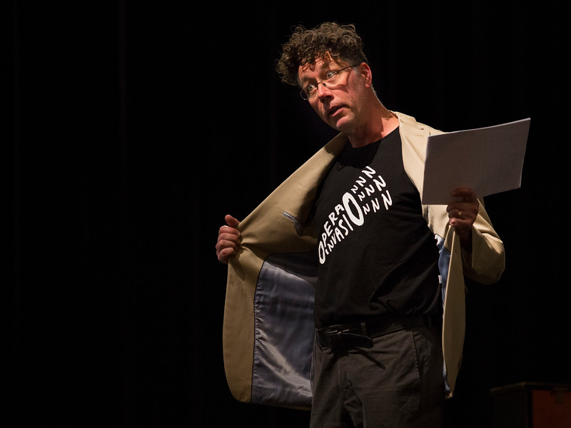 General and Artistic Director of the Chautauqua Opera Company Steven Osgood encourages the crowd to wear their opera t-shirts at the Young Artists Sing-In on Monday, June 19, 2017. This will be Osgood's second season at the Opera Company. ERIN CLARK / STAFF PHOTOGRAPHER