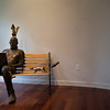 """Squirrel Whisperer"", a cast bronze statue made by Bill Kofmehl, is displayed at the 60th Chautauqua Annual Exhibition for Contemporary Art on Monday, June 19, 2017. ERIN CLARK / STAFF PHOTOGRAPHER"