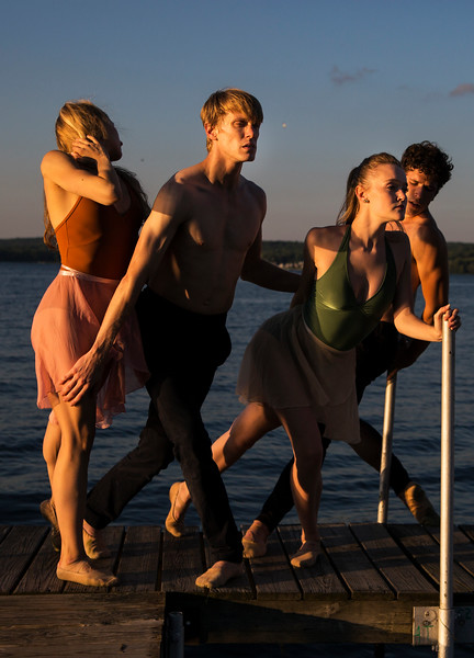 Dancers from the Charlotte Ballet from left, Lexi Johnston, James Kopecky, Sarah Lapointe and Josh Hall perform in music and dance collaboration with musician Stelth Ng. A video documentary of the collaboration was filmed at the Chautauqua Bell Tower on Saturday, July 15, 2017.  ERIN CLARK / STAFF PHOTOGRAPHER