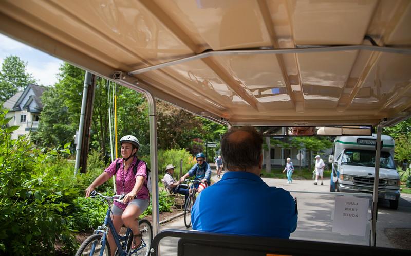 Dan Hontz drives the lake tram route on Monday, July 3, 2017. ERIN CLARK / STAFF PHOTOGRAPHER