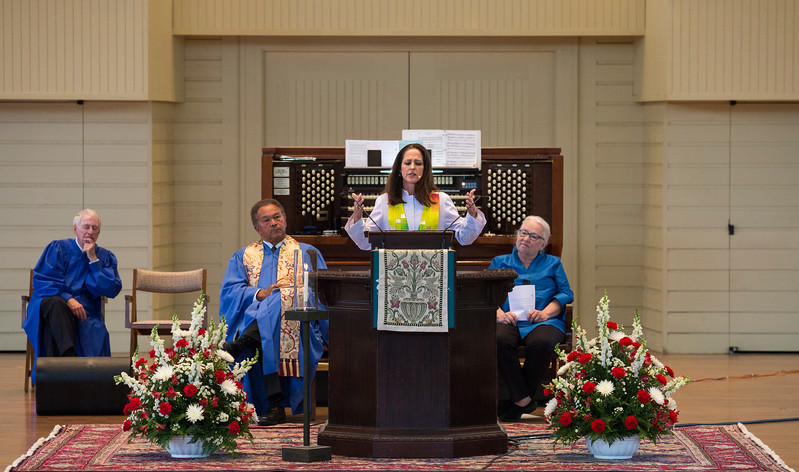 The Rev. Ginger Gaines-Cirelli presents her sermon during Sunday Morning Worship in the Amp on Sunday, July 23, 2017. ERIN CLARK / STAFF PHOTOGRAPHER