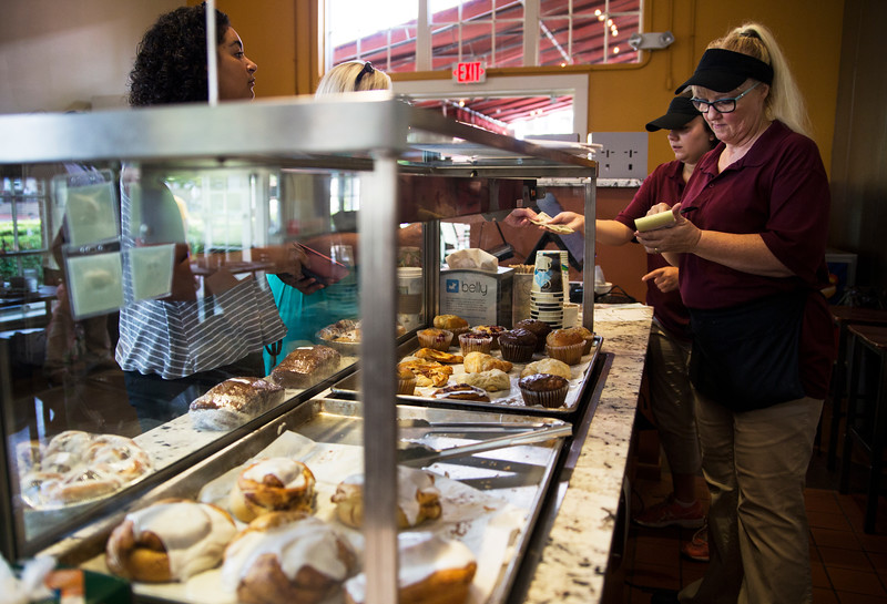 Donna Knopsnier takes orders for breakfast on Friday morning, July 20, 2017 at the Brick Walk Cafe. ERIN CLARK / STAFF PHOTOGRAPHER