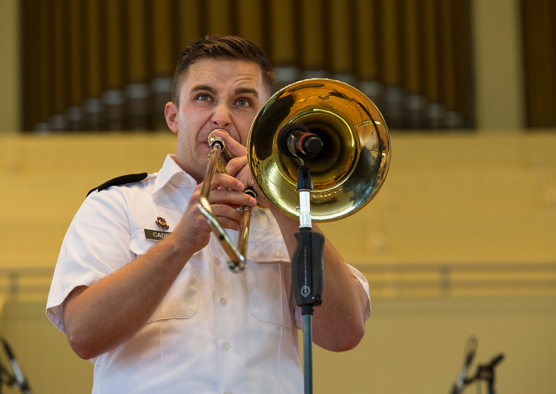 Staff Sergeant Sean Casey performs a solo with The Jazz Ambassadors of the United States Army Field Band at the Amphitheater on Sunday, June 25, 2017. ERIN CLARK / STAFF PHOTOGRAPHER