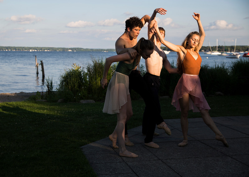 Dancers from the Charlotte Ballet from left, Lexi Johnston, Josh Hall, James Kopecky and Sarah Lapointe and perform in a music and dance collaboration with musician Stelth Ng. A video documentary of the collaboration was filmed at the Chautauqua Bell Tower on Saturday, July 15, 2017.  ERIN CLARK / STAFF PHOTOGRAPHER