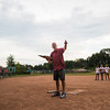 Stephen Stout performs half-time entertainment with a reading of Casey at the Bat during the Women's Softball Championship at Sharpe Field on Thursday, August 3, 2017. ERIN CLARK / STAFF PHOTOGRAPHER