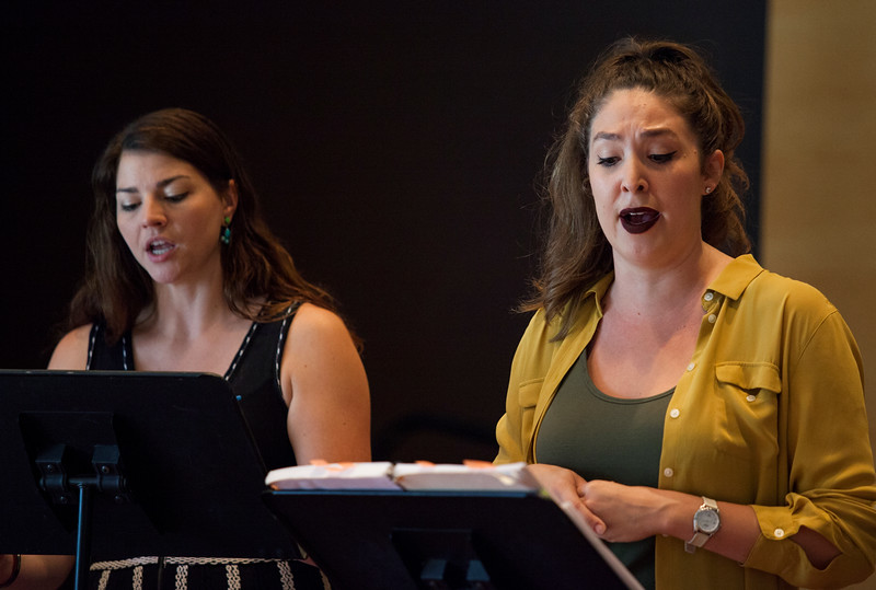 """Natalie Rose Havens, right, and Helen Hassinger practice """"Hydrogen Jukebox"""" during an open rehearsal on Monday, July 3, 2017. ERIN CLARK / STAFF PHOTOGRAPHER"""