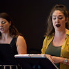 "Natalie Rose Havens, right, and Helen Hassinger practice ""Hydrogen Jukebox"" during an open rehearsal on Monday, July 3, 2017. ERIN CLARK / STAFF PHOTOGRAPHER"