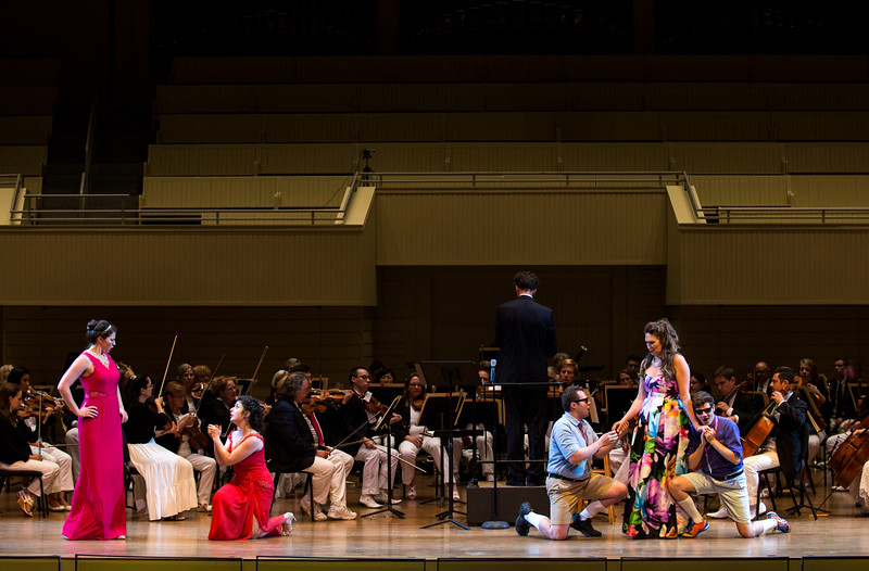 "From left, Helen Hassinger, Chelsea Friedlander, Mario Diaz-Moresco, Natalie Rose Havens, and Arnold Livingston Geis perform W.A. Mozart's ""Alla bella Despinetta"" from ""Cosi fan tutte"" at the Chautauqua Symphony Orchestra Opera Highlights Concert in the Amp on Saturday, July 15, 2017. ERIN CLARK / STAFF PHOTOGRAPHER"