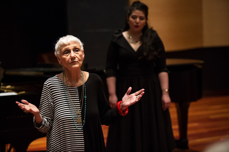 Voice Coach Marlena Malas welcomes the audience to the Opera Master Class in Fletcher Music Hall on Friday, July 21, 2017. ERIN CLARK / STAFF PHOTOGRAPHER
