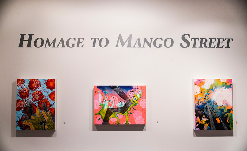 """From left to right, """"Particles Rising"""", """"Chains Reacton"""", and """"Mist"""", paintings by Daniel Borlandelli, hang in Homage to Mango Street at the Strohl Art Center on July 13, 2017. ERIN CLARK / STAFF PHOTOGRAPHER"""