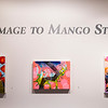 "From left to right, ""Particles Rising"", ""Chains Reacton"", and ""Mist"", paintings by Daniel Borlandelli, hang in Homage to Mango Street at the Strohl Art Center on July 13, 2017. ERIN CLARK / STAFF PHOTOGRAPHER"